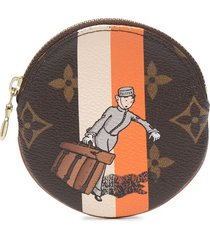 louis vuitton pre-owned round coin case - brown