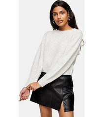 gray boat neck knitted sweater - grey marl