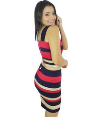 vestido rojo crop-top rayas vt-00126