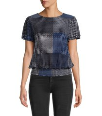 tommy hilfiger women's printed smocked-waist blouson top - midnight - size xs