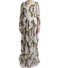 bloemen geborduurde maxi jurk