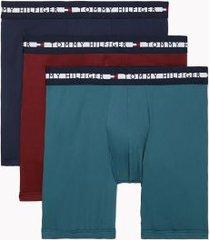 tommy hilfiger men's comfort + boxer brief 3pk lagoon/deep red/navy - xl