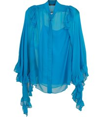 cape ruffle sleeve blouse