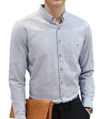 business casual in cotone sottile abbottonato con bottoni a righe camicia per uomo