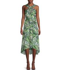 ava & aiden women's printed halter dress - green multi - size s