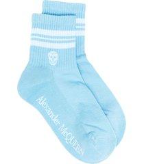 alexander mcqueen skull logo-print socks - blue