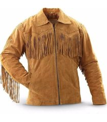 men's traditional western boar suede leather cowboy jacket coat with fringes