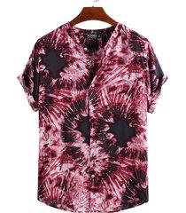 camiseta de manga corta tie dye para hombre, camiseta estampada para vacaciones