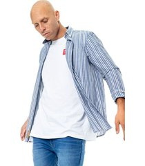 camisa manga larga a rayas con tela contraste en perilla y banda color blue