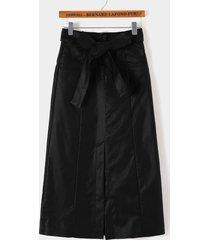 falda de cintura alta de cuero sintético con diseño de hendidura negra