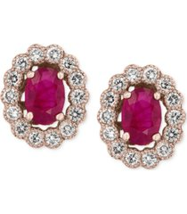 amore by effy certified ruby (1-9/10 ct. t.w.) and diamond (5/8 ct. t.w.) bezel earrings in 14k rose gold, created for macy's