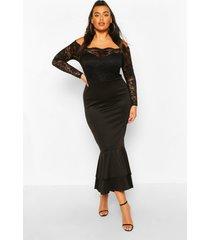 plusmaat kanten maxi-jurk met boothals en visgraatmotief, zwart