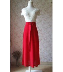 double slit skirt long red skirt lady red high waisted party skirt with belt nwt