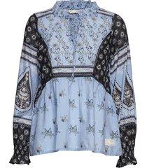 la vie boheme v-neck blouse blouse lange mouwen blauw odd molly