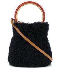 marni pannier fur bucket bag - blue