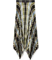 women's tory burch sunburst plaid pleated silk skirt