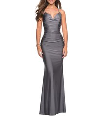 women's la femme strappy back ruched trumpet gown, size 0 - grey
