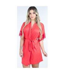 hobby roupão bravaa modas robe amarrar lingerie 238 vermelho