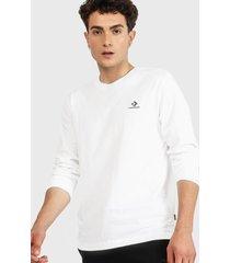 polera converse embroidered star chevron long sleeve t-shirt blanco - calce regular