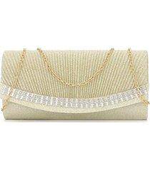 bolsa clutch liage bordada brilho pedraria strass pedra transparente metal dourada