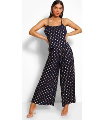 foiled spot strappy jumpsuit, navy