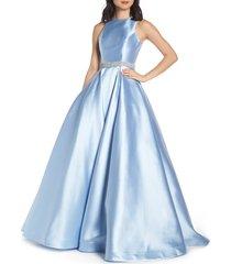 women's mac duggal jeweled waist satin twill evening dress, size 14 - blue