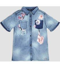 denimowa koszula z cekinowymi kwiatami