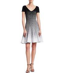 glitter ombré v-neck short-sleeve a-line flounce dress