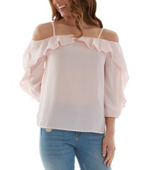 bcx juniors' cold-shoulder ruffled top