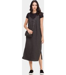 vestido com alças xadrez mídi preto reativo - lez a lez