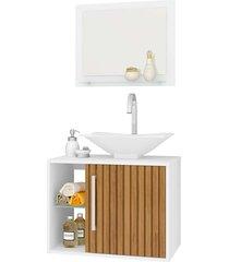 gabinete banheiro baden c/ cuba e espelheira branco móveis bechara - tricae