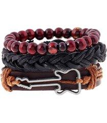 braccialetto a multistrati in pelle vera con perline buddista