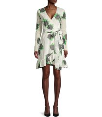 ganni women's floral-print wrap dress - vanilla - size 34 (2)
