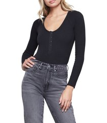 women's good body snap henley bodysuit, size 2 - black