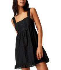 women's woven flora frilly pinny mini dress