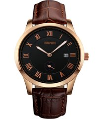 relógio skmei analógico 1132 marrom e preto