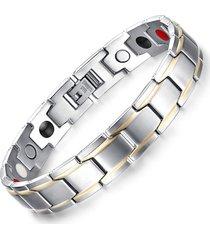 pulsera energetica de  acero inoxidable y germanio magnetico