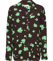 printed crepe blouse lange mouwen groen ganni