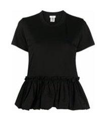 comme des garçons noir kei ninomiya camiseta de algodão com babados - preto