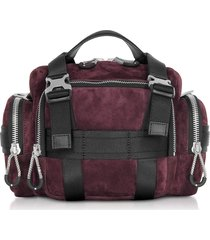 alexander wang burgundy suede surplus duffle bag