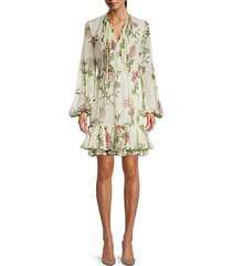 floral-print silk mini dress