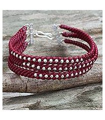 silver beaded wristband bracelet, 'crimson moons' (thailand)