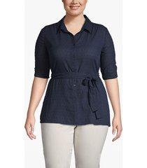 lane bryant women's clip dot belted shirt 28 dark water