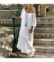 zanzea vestido largo de encaje de hombro frío croceht de mujer vestido de camisa de playa ahuecada -blanquecino