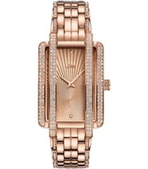 jbw women's mink diamond (1/8 ct.t.w.) 18k rose gold plated stainless steel watch