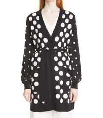max mara adele pinna dot silk & cashmere cardigan, size small in black at nordstrom