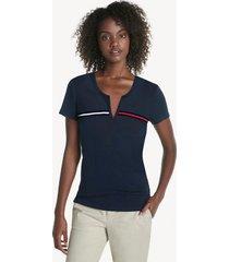 tommy hilfiger women's essential split-neck t-shirt sky captain - xxl