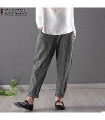 zanzea pantalones de lápiz de algodón a cuadros sueltos para mujer pantalones de cintura alta de talla grande -negro