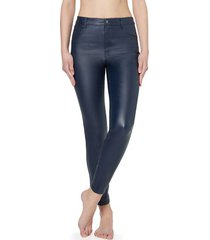 calzedonia leather-effect leggings woman blue size xs