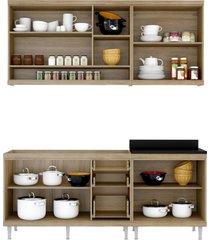 cozinha compacta completa multimã³veis com 4 peã§as sicãlia 5818 argila/amarelo - bege/incolor - dafiti